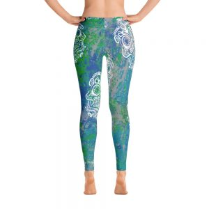 Sugar Skull Blue and Teal Leggings