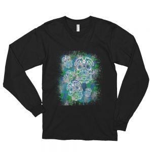 Sugar Skull Blue and Teal Long sleeve t-shirt (unisex)
