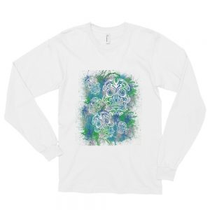 Sugar Skull Blue and Teal Long sleeve t-shirt (unisex)