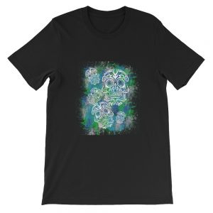 Sugar Skull Blue and Teal Short-Sleeve Unisex T-Shirt