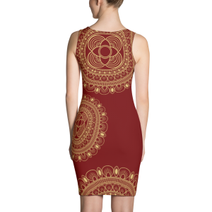 Beautiful Wine and Gold Sublimation Cut & Sew Dress