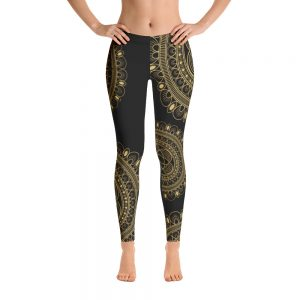 Beautiful Black and Gold lacy Leggings