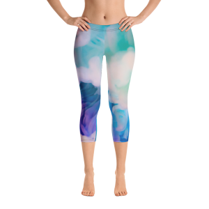 Blue Dusty Smoke Capri Leggings