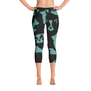 Teal and Black Puppy Love Capri Leggings