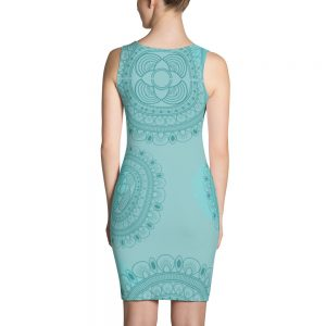 Beautiful Lacy Blue Sublimation Cut & Sew Dress