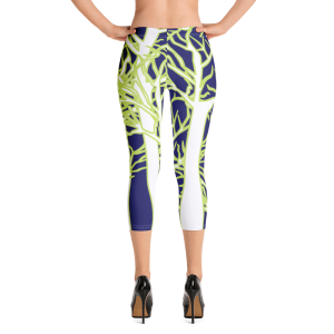 Beautiful and colorful white forest Capri Leggings