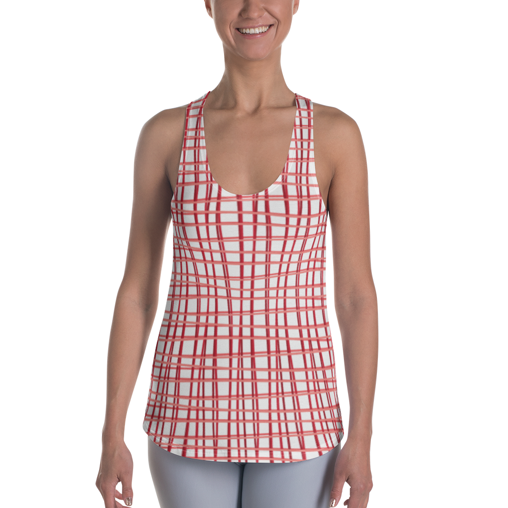 Red Plaid Women's Racerback Tank for the Blue Body Campaign