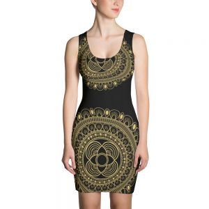 Beautiful Black and Gold Lacy Sublimation Cut & Sew Dress