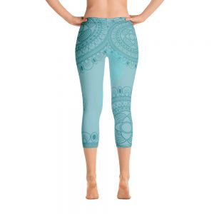 Blue lace design Capri Leggings