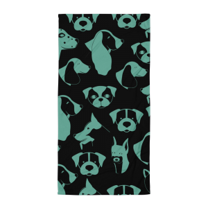 Teal and Black Puppy Love Beach Towel