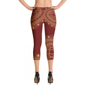 Beautiful wine and Gold Capri Leggings