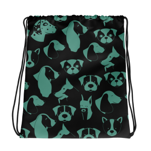 Teal and Black Puppy Love Drawstring bag