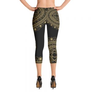 Beautiful Black and Gold Lacy Capri Leggings