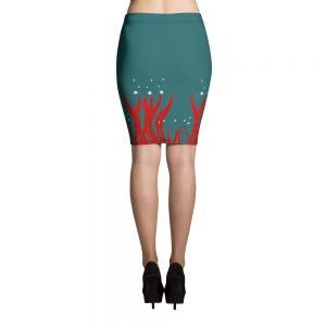Red Seaweed Pencil Skirt Blue Body
