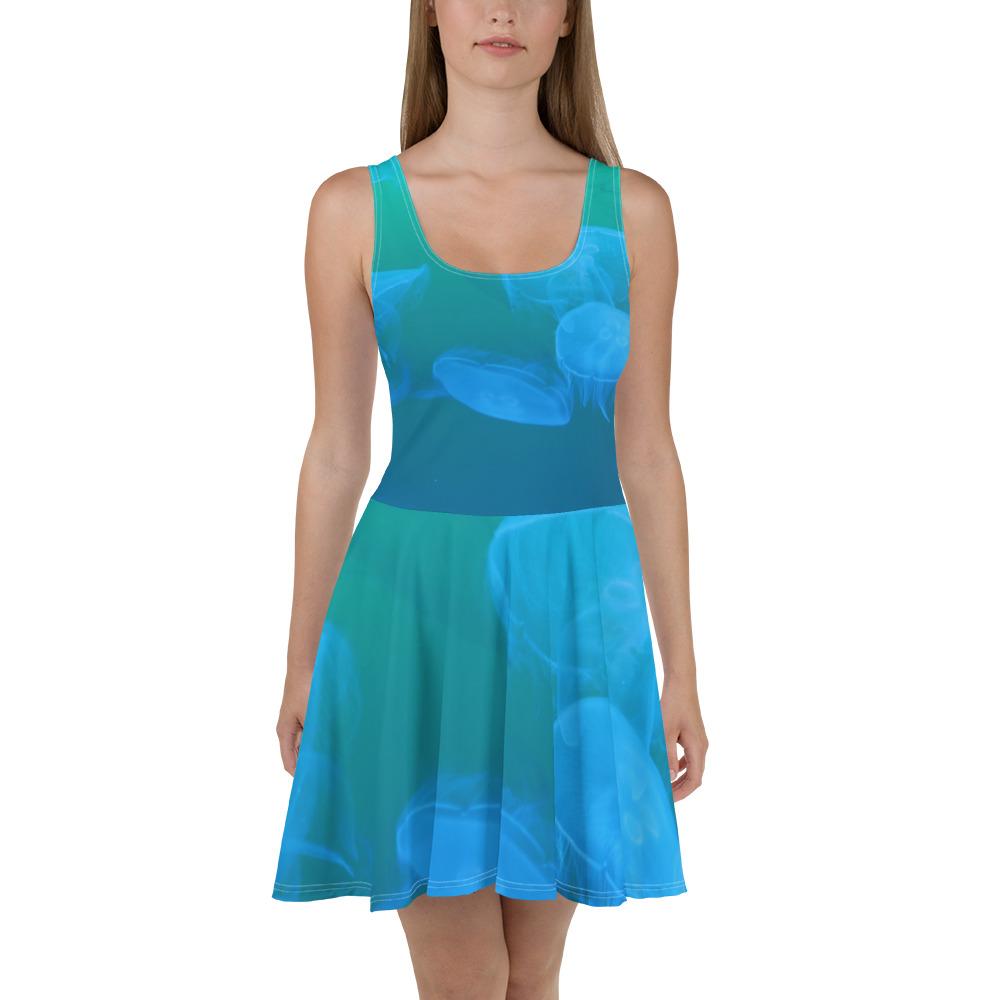 Jellyfish Skater Dress Blue Body
