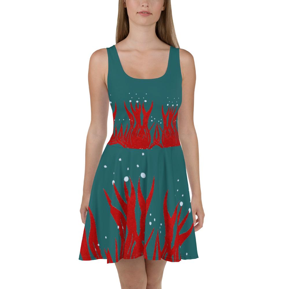 Red Seaweed Skater Dress Blue Body