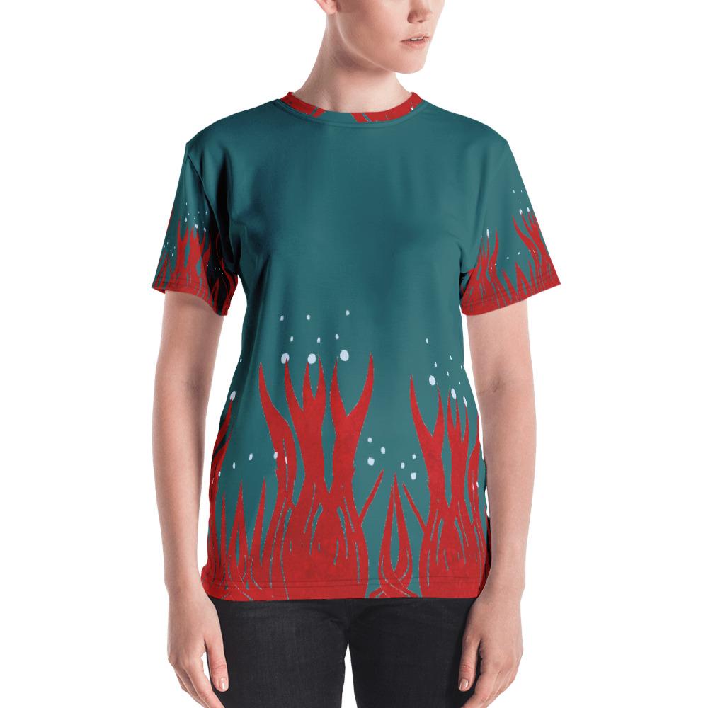 Red Seaweed Women's T-shirt Blue Body