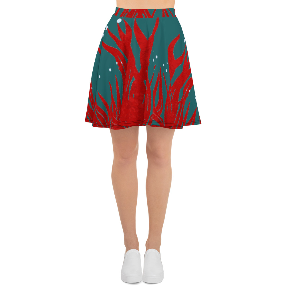 Red Seaweed Skater Skirt Blue Body