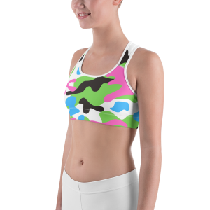 Pink and Green Camo Sports bra for the Stars and Stripes campaign