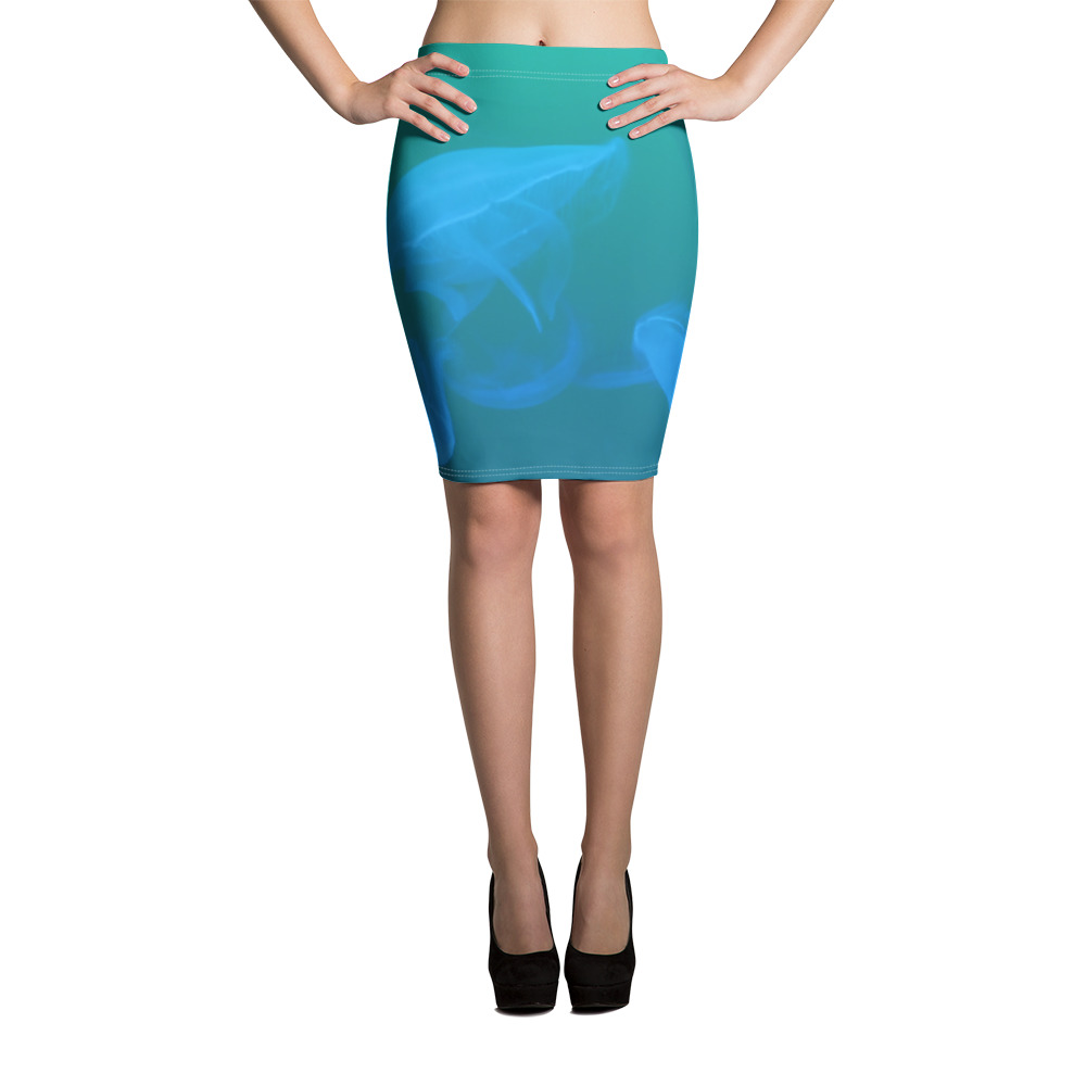 Jellyfish Pencil Skirt Blue Body