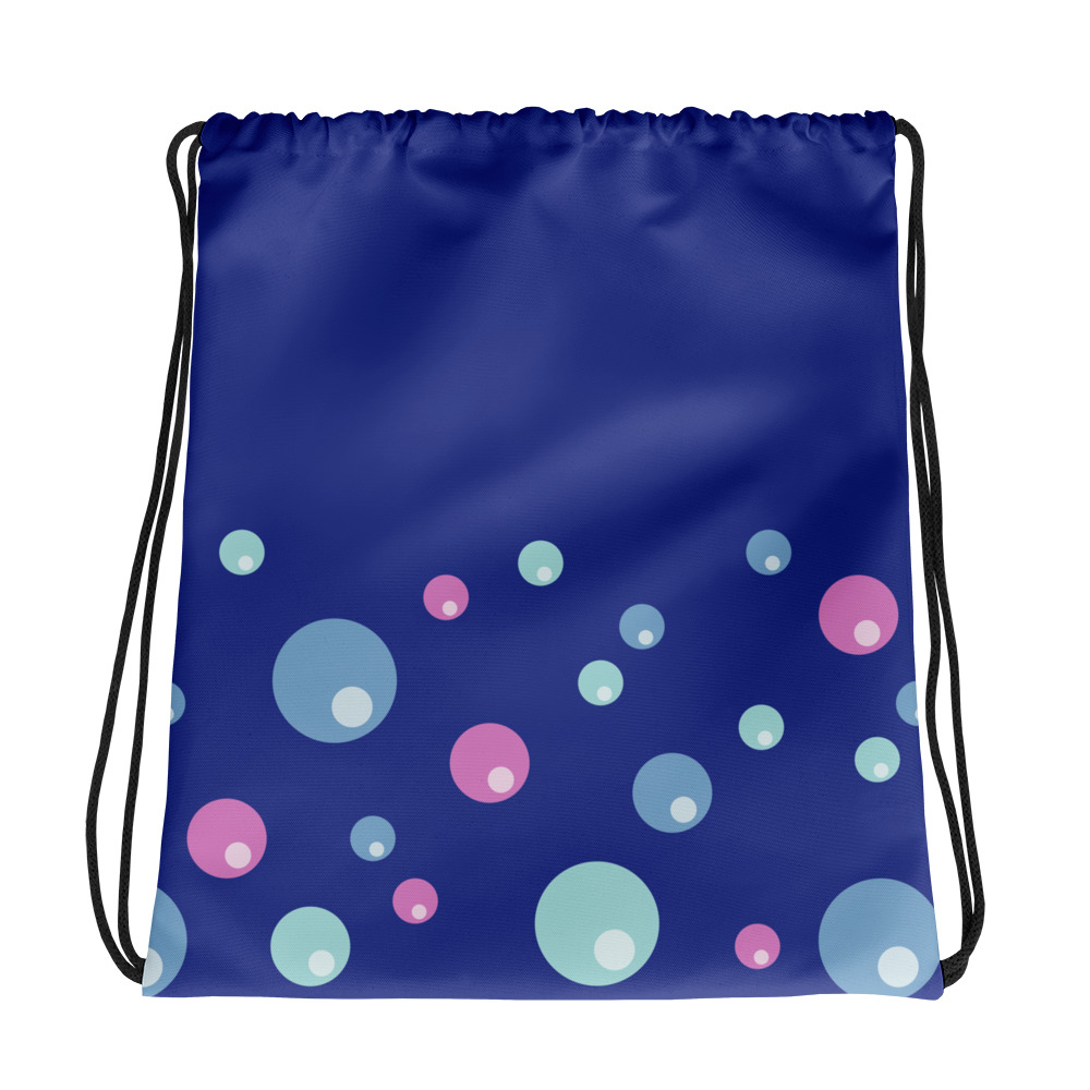 Pink and Blue Bubbles Drawstring bag Blue Body