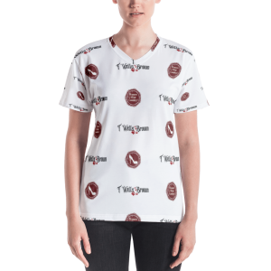 Women of Wine Country Step and Repeat pattern Women's V-neck